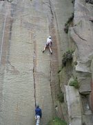 Rock Climbing Photo: Approaching the crux move on Embankment 4