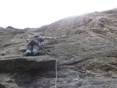 Rock Climbing Photo: Big fun on the big flake.