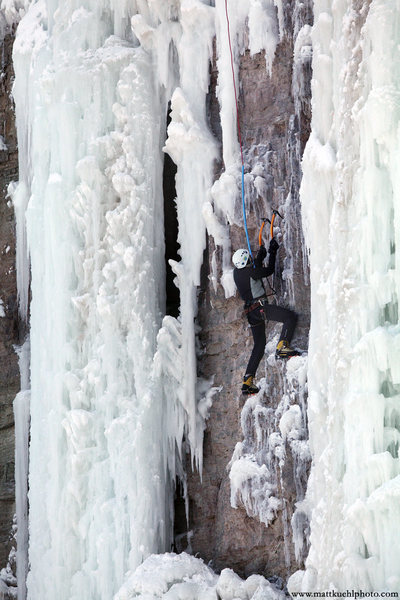 Rock Climbing Photo: Ellen Guller works the mixed routes. Ice Fest 2011...