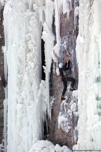 Ellen Guller works the mixed routes. Ice Fest 2011. Photo Matt Kuehl