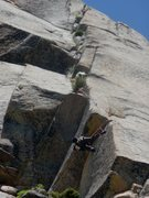 Rock Climbing Photo: Cleaning gear on the crux pitch.  Given the roof e...