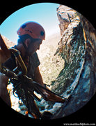 Rock Climbing Photo: P1 Anchor by the tree. Fall 2010  Photo Matt Kuehl