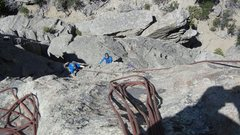 Rock Climbing Photo: Polly Hart climbing, Eric Hobday on first belay, f...