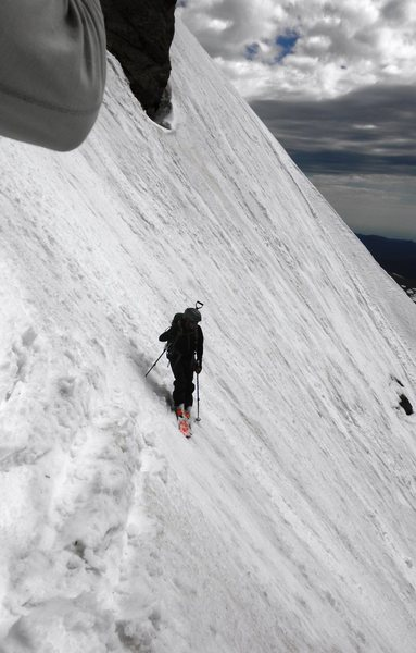 Rock climbing photo dropping into couloir hard turns snow conditions real challenging - Sticker couloir ...