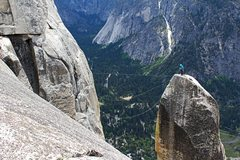 Rock Climbing Photo: Lost Arrow Spire, finishing the Tyrolean using the...