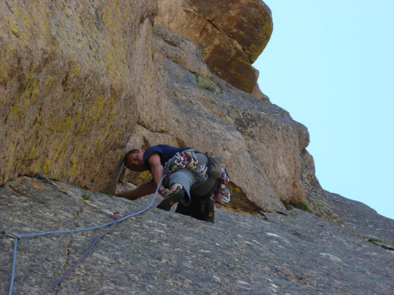 Rock Climbing Photo: Working up the crack on the second pitch.