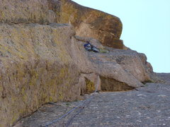 Rock Climbing Photo: Above the crux (and bolt) on pitch two.