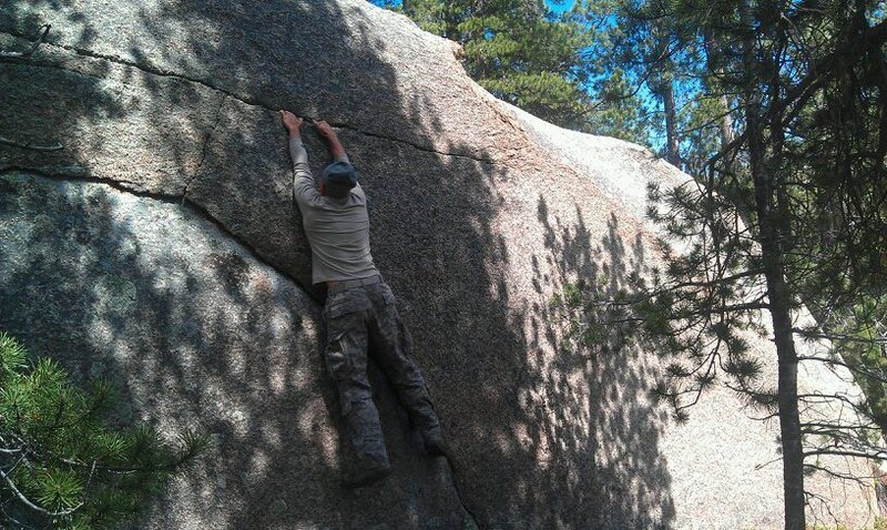 Rock Climbing Photo: Matt getting the second ascent of Ewok-1.