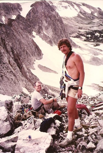 Frank Prosser (seated) and Paul Cornia, summit of the Diamond, Snowy Range, Wyoming, July 1982