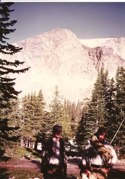Frank Prosser and Paul Cornia below the Diamond, Snowy Range Wyoming, July 1982