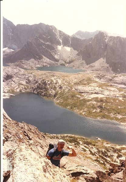 Rock Climbing Photo: JB near summit of Haystack Mtn, Wind Rivers, Sept ...