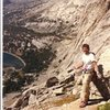 Paul Cornia near summit of Haystack Mtn, Wind Rivers, Wyoming, Sept 1988.  No place he'd rather be.  Pingora visible at upper middle.