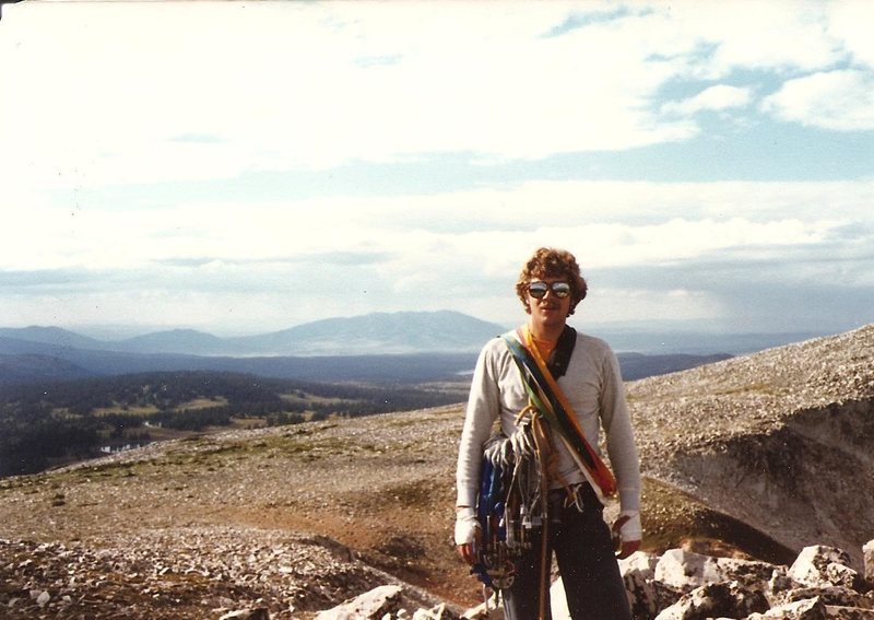 Paul Cornia looking cool, summit of Old Main, Snowy Range, Wyoming, Aug 1981.