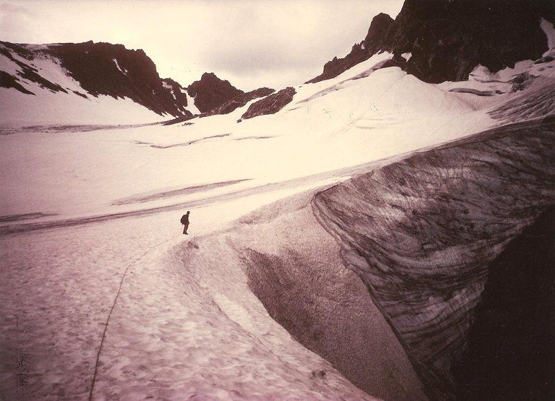 Paul Cornia on Dinwoody Glacier, Wind Rivers, Aug 1984.