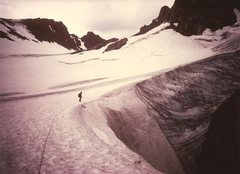 Rock Climbing Photo: Paul Cornia on Dinwoody Glacier, Wind Rivers, Aug ...