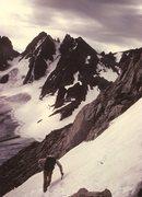 Rock Climbing Photo: JB, Gooseneck Ridge, Wind Rivers, Aug 1984.  No pl...