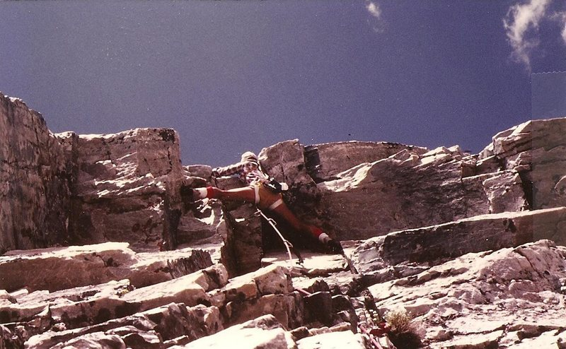 JB leading crux pitch, Overhang Direct, Diamond, Snowy Range Wyoming, July 1982.