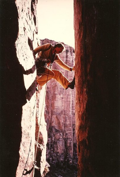 JB first pitch of Kor Route, Sabino Canyon, Jan 1983.