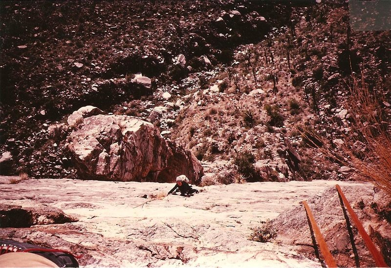 Nellie Horn follows pitch 3 of Kor Route, Sabino Canyon, Jan 1983.