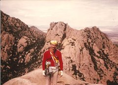 Rock Climbing Photo: JB, summit of End Pinnacle, Stronghold, March 1985...