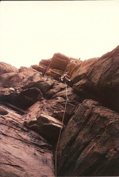 Rock Climbing Photo: JB leads Old Man at Windy Pt, Feb 1982.