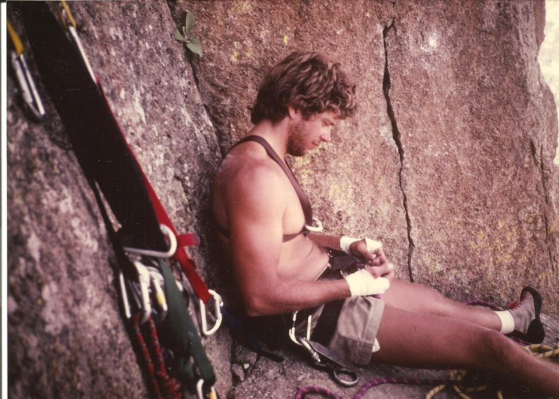 Pablo, ledge atop New Wave, Devil's Tower, Wyoming, Aug 1984.