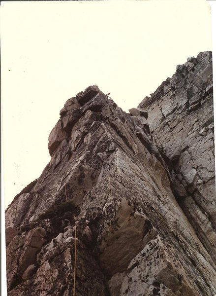 JB nearing the summit (pitch 7), Old Main, Snowy Range Wyoming, Aug 1981.
