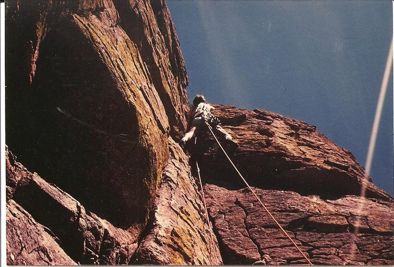 Paul Cornia, Pitch 4, Birdman (Aves Tower), Bear Canyon, Mt Lemmon, March 1982.