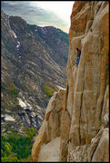 Rock Climbing Photo: Hair of the Dog is the crack leading to Greg's pos...