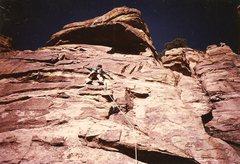 Rock Climbing Photo: JB on R3, Windy Point, Jan 1983.