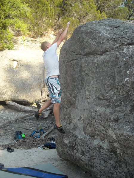 Rock Climbing Photo: Dynoing for the top!