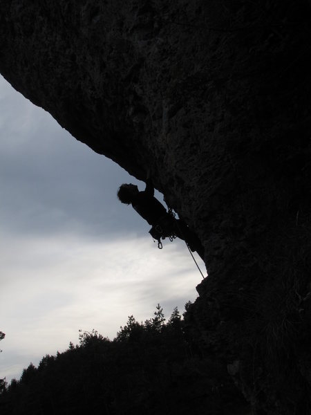 Rock Climbing Photo: The overhanging nature of the routes on the right ...