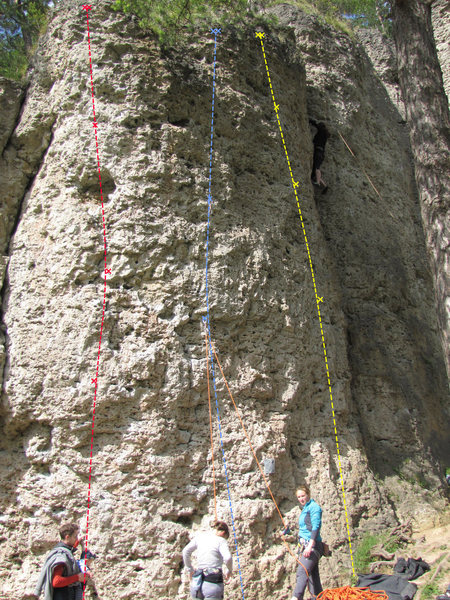 Rock Climbing Photo: Red is Eieruhr, Blue is Don't Worry Be Happy, and ...