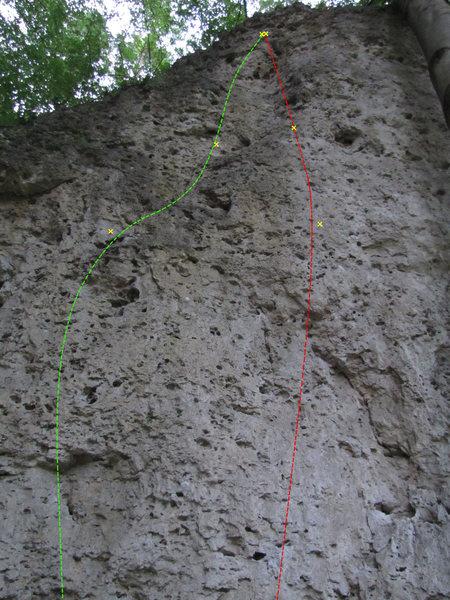 Rock Climbing Photo: Green line is Fuer Zwietsch.