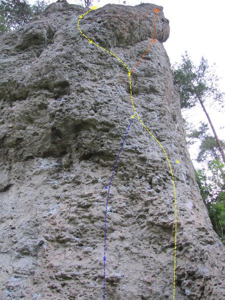 Rock Climbing Photo: Panische Zeiten follows the wandering yellow line....