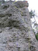 Rock Climbing Photo: Panische Zeiten follows the wandering yellow line....