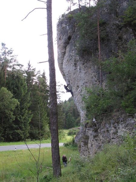 Rock Climbing Photo: Me trying Panische Zeiten.