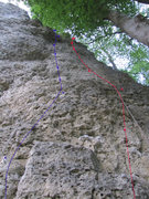 Rock Climbing Photo: The blue route on the right is Mon Marie. The red ...