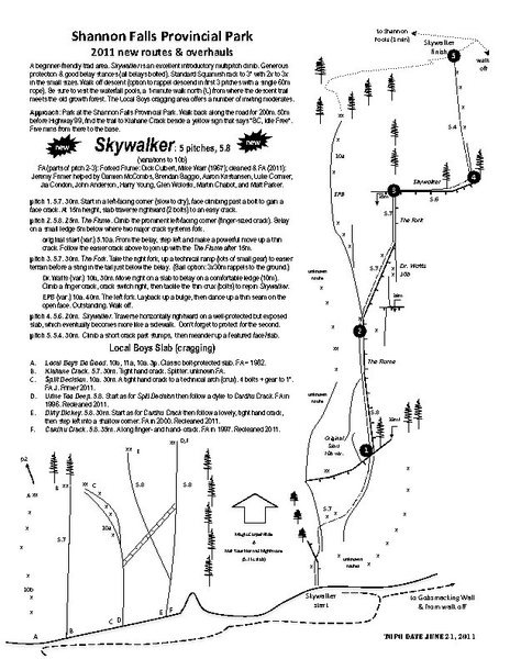 Topo for Skywalker and variations, courtesy of Jeremy Frimer.  Printable topo & more: http://www.jeremyfrimer.com/Climbing_Routes.html