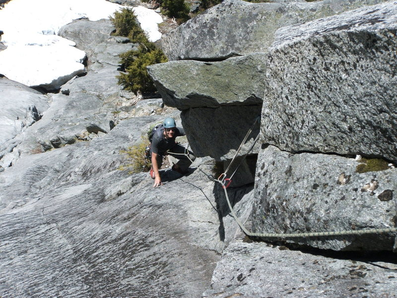 Rock Climbing Photo: Josh approaching the route crux on pitch 3.