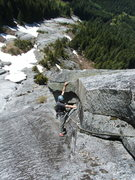 Rock Climbing Photo: Josh working out the details on 3rd pitch of Blueb...