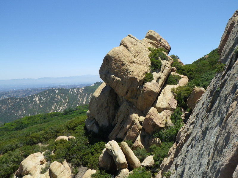 Rock Climbing Photo: Giant rock next to the wall. Looks like there is a...