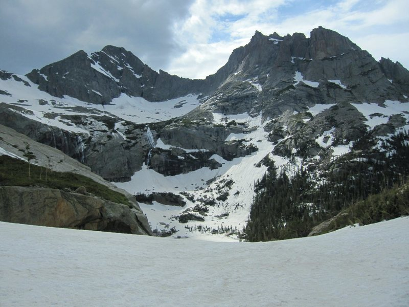 Looking down towards Black Lake.  Lots of snow for July 3rd!