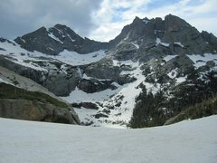 Rock Climbing Photo: Looking down towards Black Lake.  Lots of snow for...