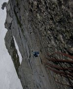 Rock Climbing Photo: Adam coming up the 10c finger crack on his onsight...