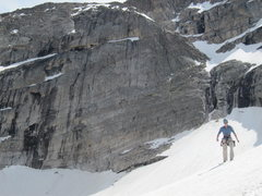 Rock Climbing Photo: Descending the snowfield back to the base of Spear...