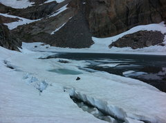 Rock Climbing Photo: Chasm Lake melting away quickly.   Be careful if y...