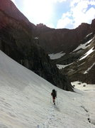 Rock Climbing Photo: Left side of Chasm Lake snow approach allows bypas...