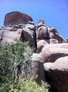 Rock Climbing Photo: Piton Perch is the obvious deep chimney in the cen...