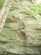 Rock Climbing Photo: Me starting the crux in the Stain.